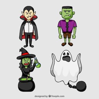 Set de fantasma y otros personajes de halloween