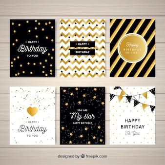 Set de felicitaciones de cumpleaños abstractas doradas