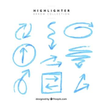 Set de flechas azules de rotulador fluorescente