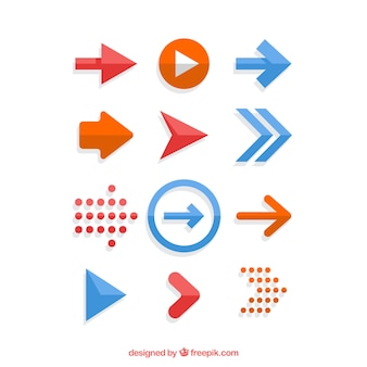 Set de flechas en diseño plano