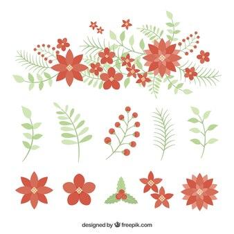 Set de flores de pascua y hojas