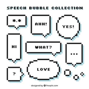 Set de globos de diálogos pixelados con mensajes