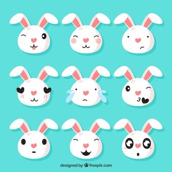 Set de graciosos emoticonos de conejito