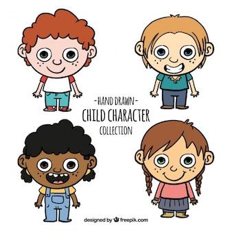 Set de graciosos niños dibujados a mano
