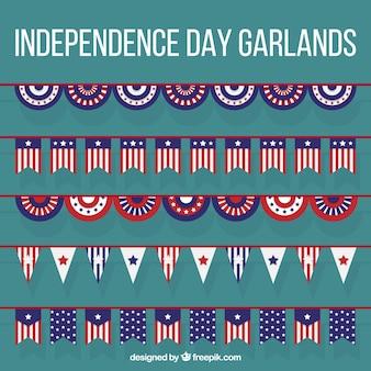 Set de guirnaldas planas del día de independencia