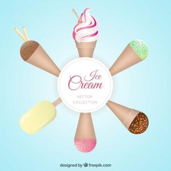 Set de helado delicioso