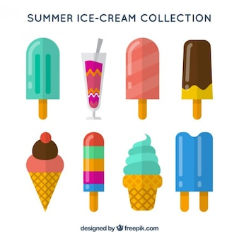 Set de helados de sabores en diseño plano
