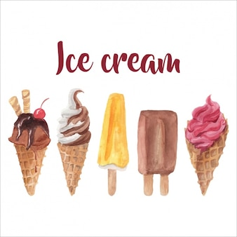 Set de helados en acuarela