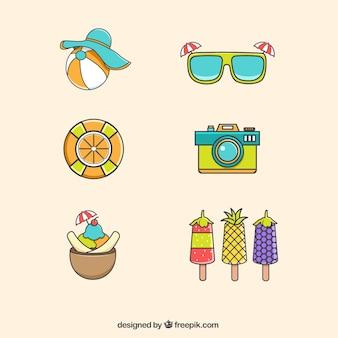 Set de helados y elementos de verano