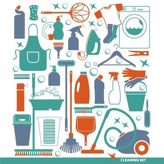 Set de herramientas de limpieza plano