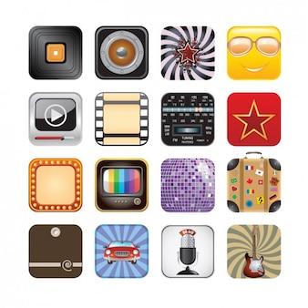 Set de iconos app retro