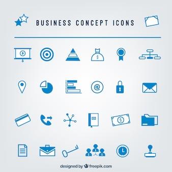 Set de iconos azules de negocios