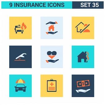 Set de iconos cuadrados de seguros