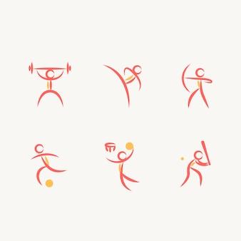 Set de iconos de deportes olímpicos en diseño abstracto