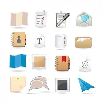 Set de iconos de papelería