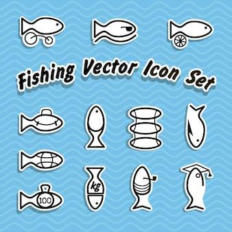 Set de iconos de pesca