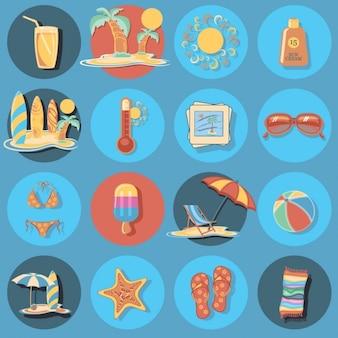 Set de iconos de playa