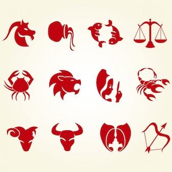 Set de iconos de signos del zodiaco