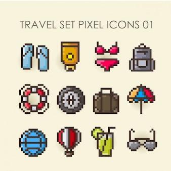 Set de iconos pixelados de viaje