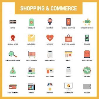 Set de iconos planos de compras y comercio