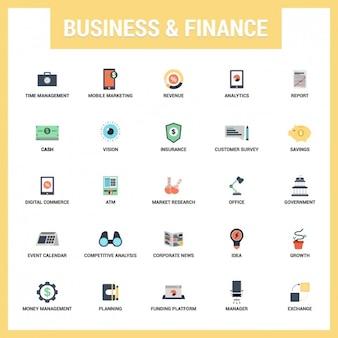 Set de iconos planos de negocios y finanzas