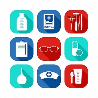 Set de iconos planos médicos