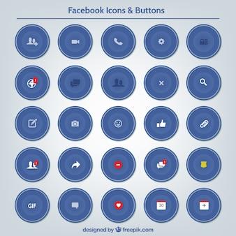 Set de iconos y botones de facebook