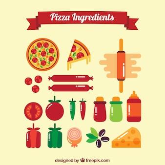 Set de ingredientes planos de pizza