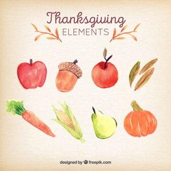 Set de ingredientes típicos de acuarela del día de acción de gracias