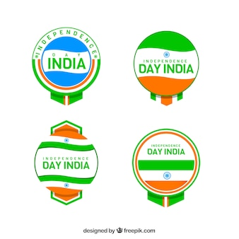 Set de insignias coloridas del día de la independencia india