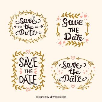 Set de insignias de boda con hojas doradas