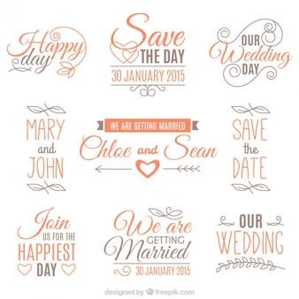 Set de insignias de boda naranjas