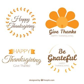 Set de insignias decorativas de acción de gracias