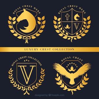 Set de insignias doradas de escudos lujosos