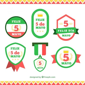 Set de insignias mexicanas planas del cinco de mayo