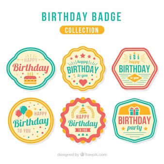Set de insignias retro de cumpleaños