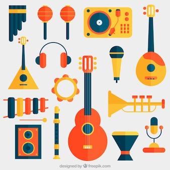 Set de instrumentos de música en diseño plano
