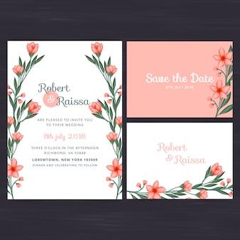 Set de invitación floral de boda