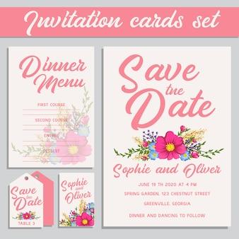 Set de invitaciones de boda rosas