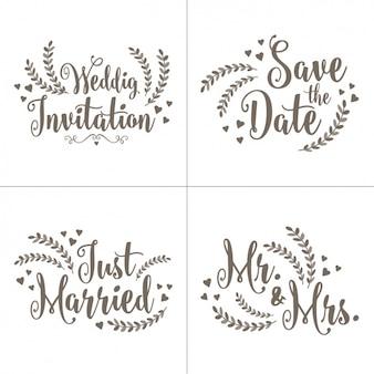 Set de letterings para invitaciones de boda