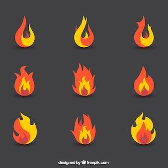 Set de llamas abstractas