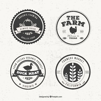 Set de logos de granja vintage