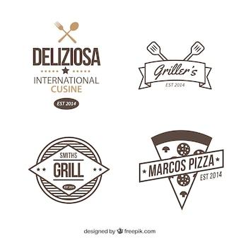Set de logos de restaurante dibujados a mano