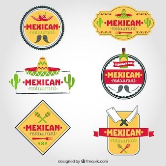 Set de logos de restaurante mexicano