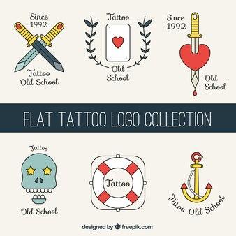Set de logos de tatuajes planos