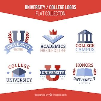Set de logos de universidad en diseño plano