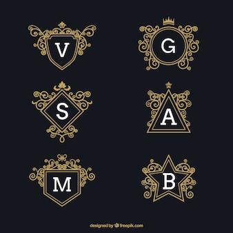Set de logos lujosos con letras mayúsculas