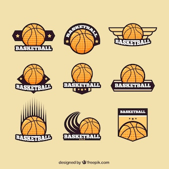 Set de logotipos retro de baloncesto
