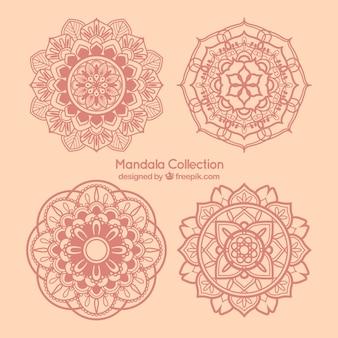 Set de mandalas decorativos rosas dibujados a mano