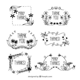 Set de marcos de agradecimiento florales dibujados a mano